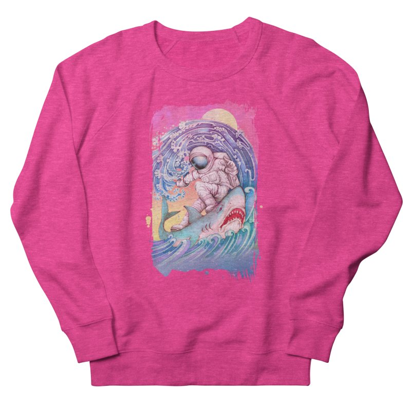 Shark Surfer Women's French Terry Sweatshirt by villainmazk's Artist Shop