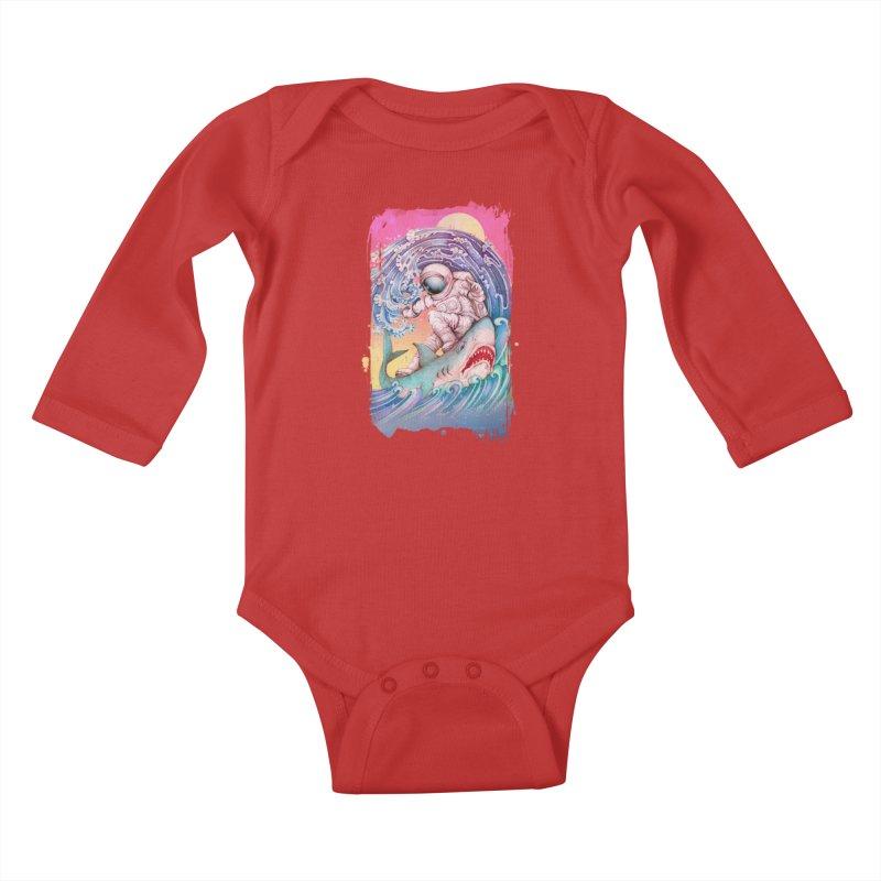 Shark Surfer Kids Baby Longsleeve Bodysuit by villainmazk's Artist Shop