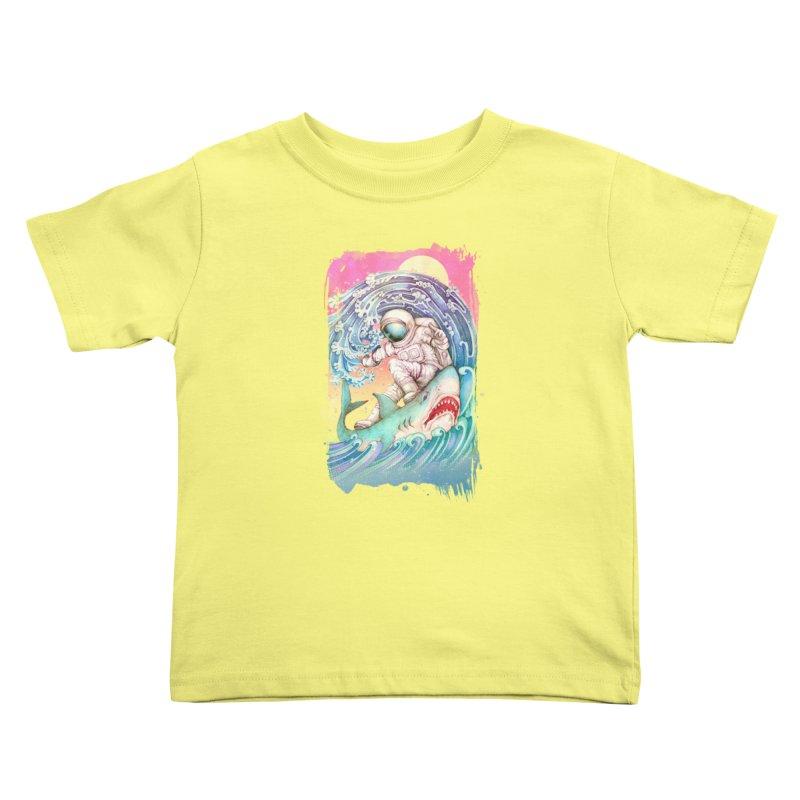 Shark Surfer Kids Toddler T-Shirt by villainmazk's Artist Shop