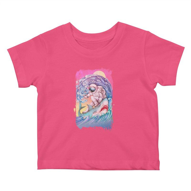 Shark Surfer Kids Baby T-Shirt by villainmazk's Artist Shop