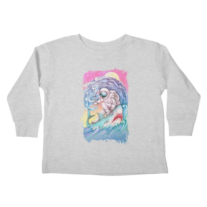 Shark Surfer Kids Toddler Longsleeve T-Shirt by villainmazk's Artist Shop