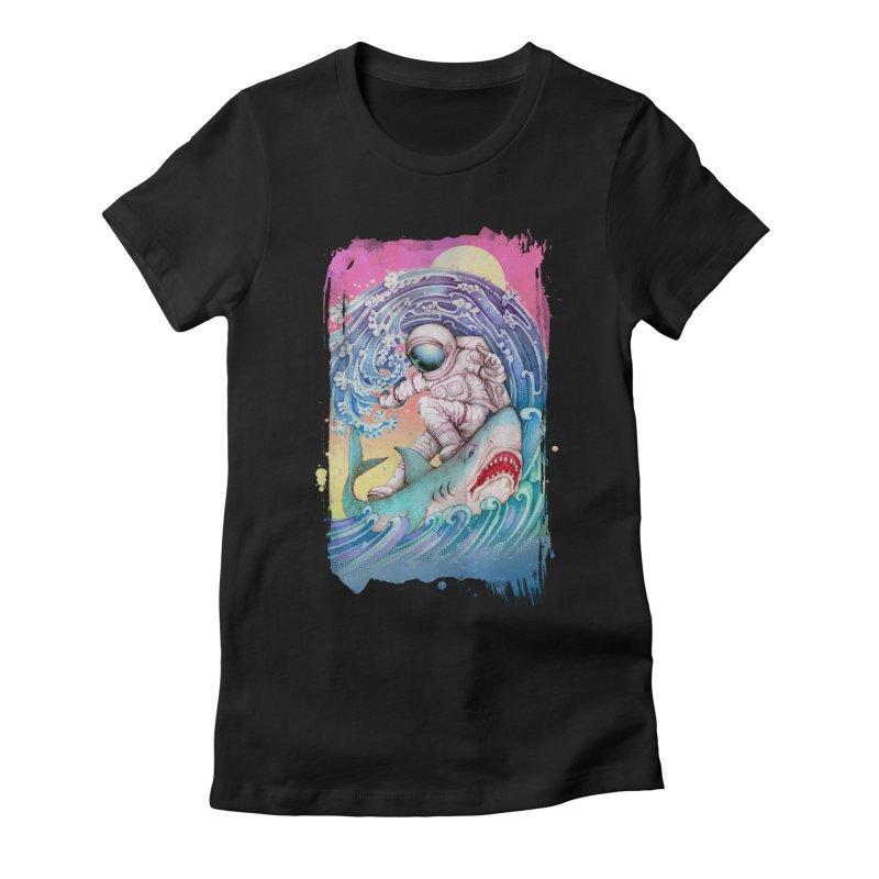 Shark Surfer Women's Fitted T-Shirt by villainmazk's Artist Shop