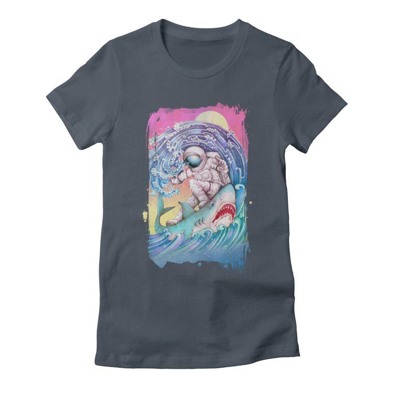 Shark Surfer Women's T-Shirt by villainmazk's Artist Shop