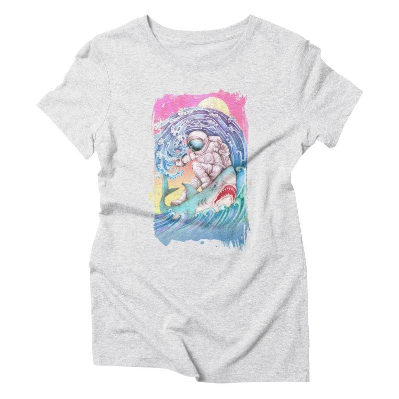 Shark Surfer Women's Triblend T-Shirt by villainmazk's Artist Shop