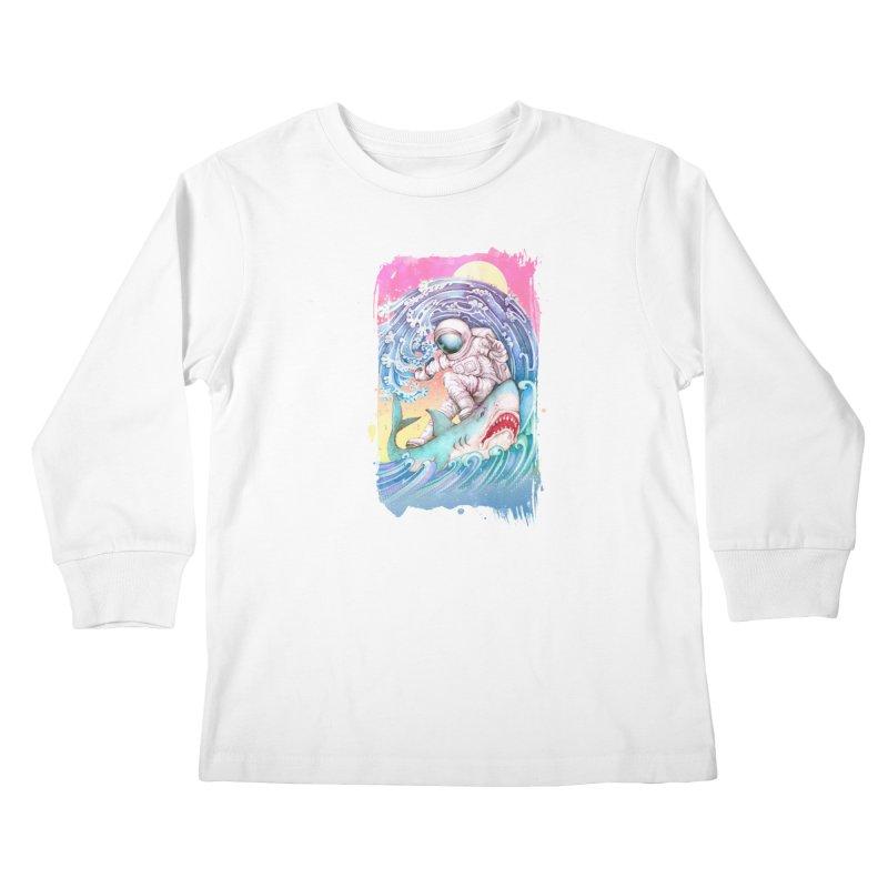 Shark Surfer Kids Longsleeve T-Shirt by villainmazk's Artist Shop