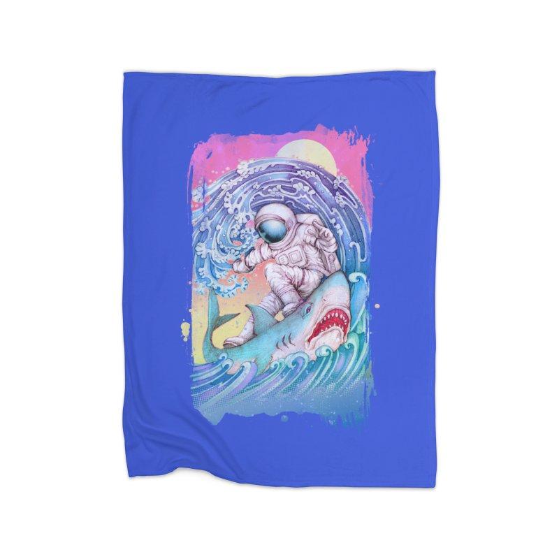 Shark Surfer Home Fleece Blanket Blanket by villainmazk's Artist Shop