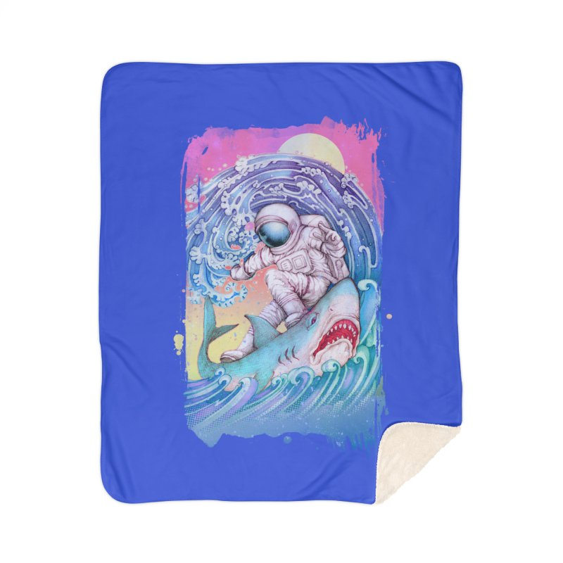 Shark Surfer Home Sherpa Blanket Blanket by villainmazk's Artist Shop