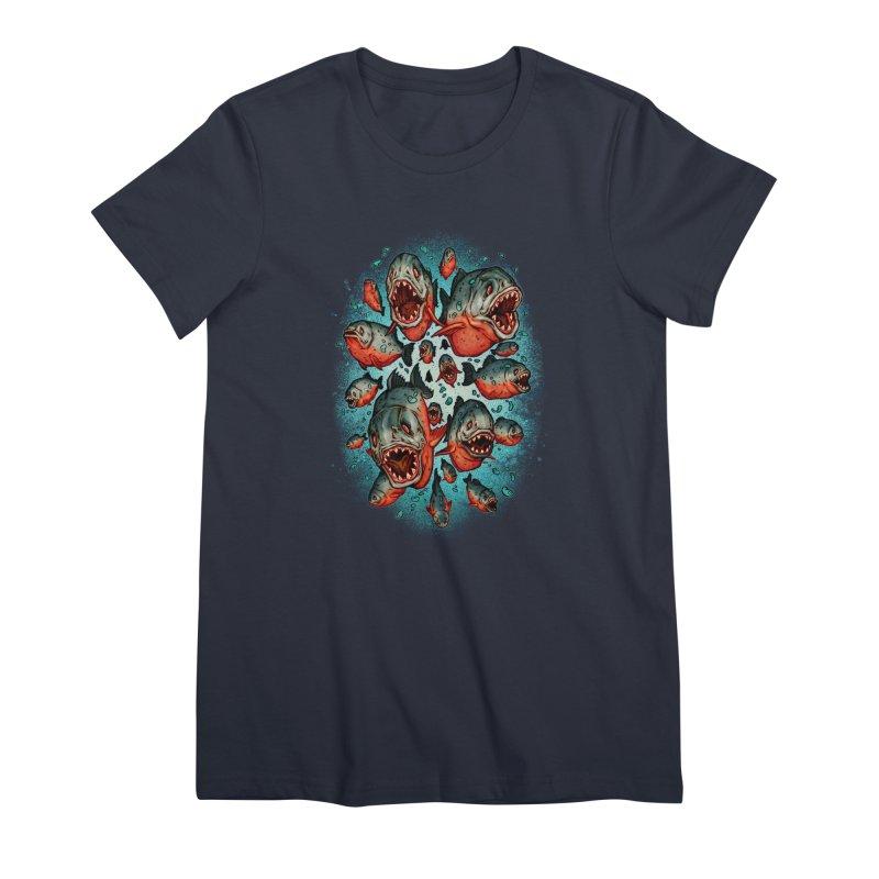 Frenzy Piranhas Women's Premium T-Shirt by villainmazk's Artist Shop