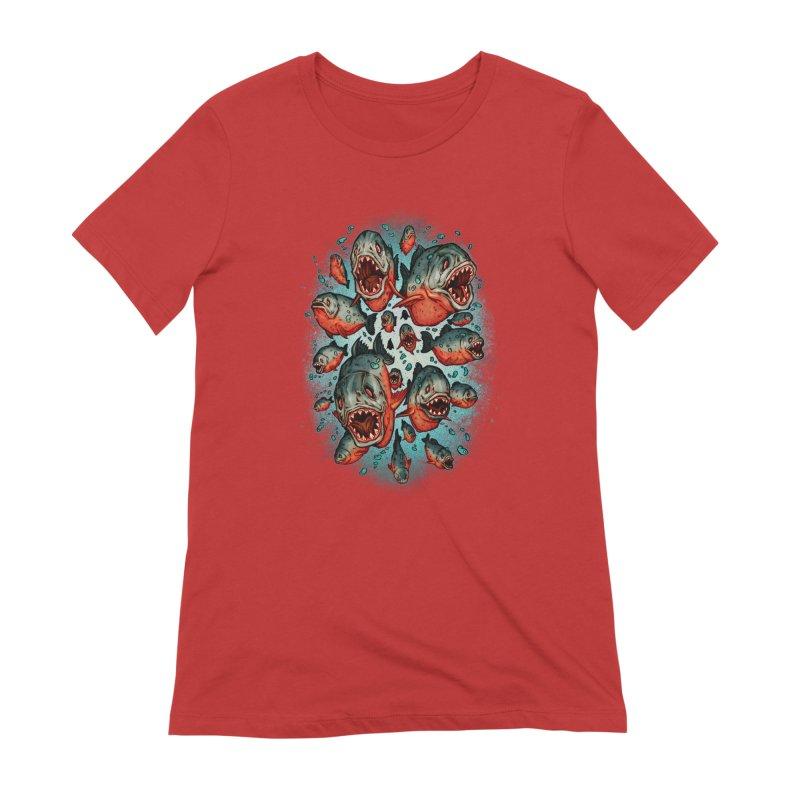 Frenzy Piranhas Women's Extra Soft T-Shirt by villainmazk's Artist Shop