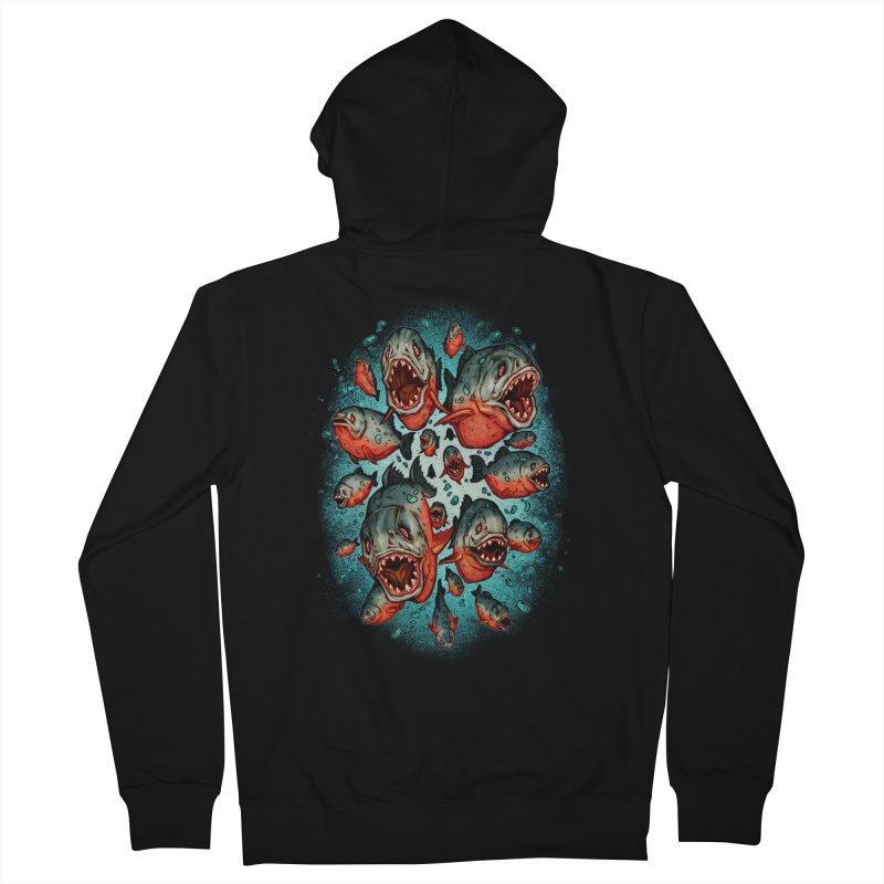 Frenzy Piranhas Men's Zip-Up Hoody by villainmazk's Artist Shop