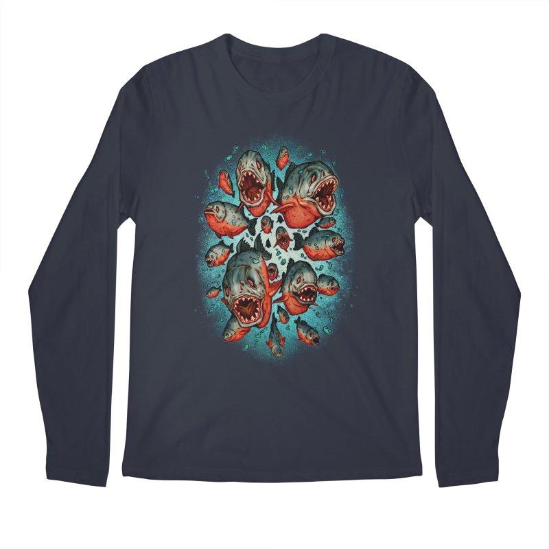 Frenzy Piranhas Men's Regular Longsleeve T-Shirt by villainmazk's Artist Shop