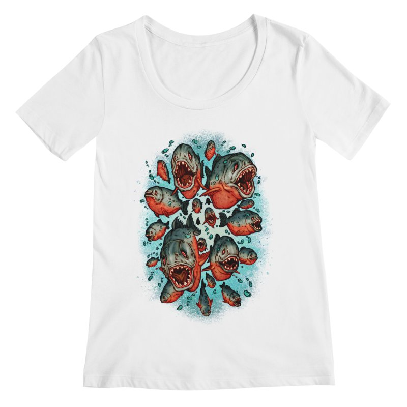 Frenzy Piranhas Women's Regular Scoop Neck by villainmazk's Artist Shop