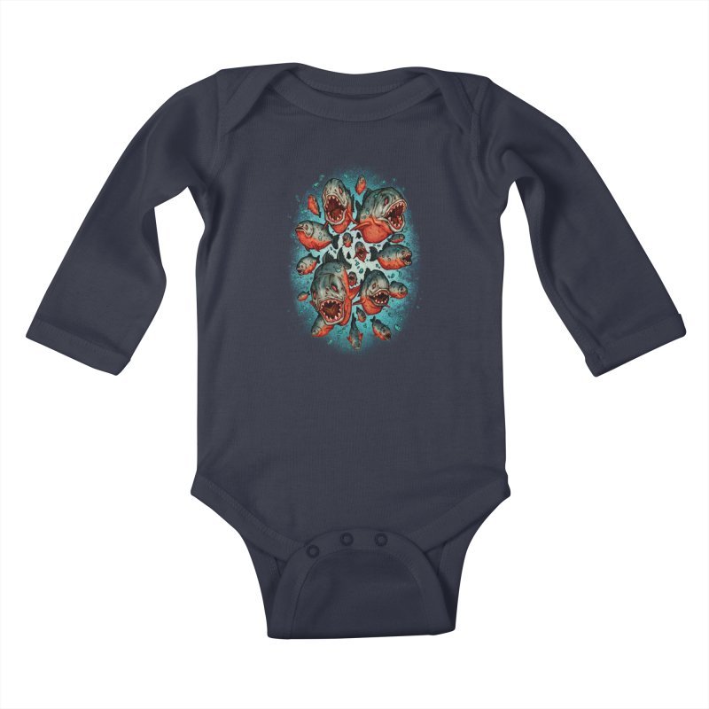 Frenzy Piranhas Kids Baby Longsleeve Bodysuit by villainmazk's Artist Shop