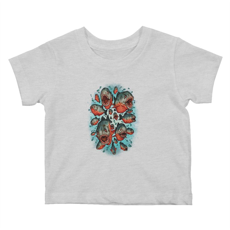 Frenzy Piranhas Kids Baby T-Shirt by villainmazk's Artist Shop