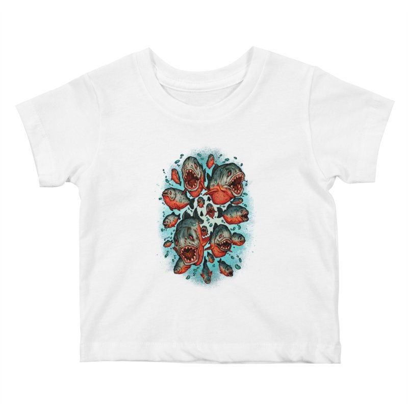 Frenzy Piranhas Kids Baby T-Shirt by villainmazk's Artist Shop