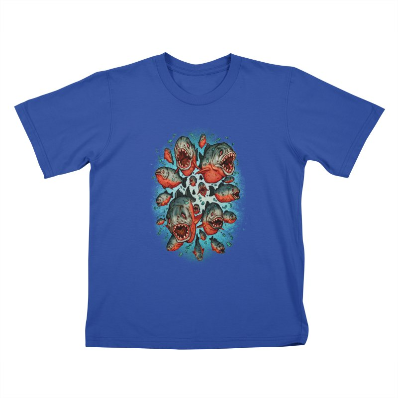 Frenzy Piranhas Kids T-Shirt by villainmazk's Artist Shop