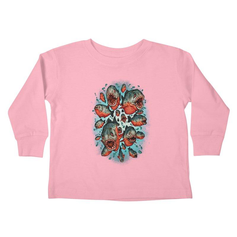 Frenzy Piranhas Kids Toddler Longsleeve T-Shirt by villainmazk's Artist Shop