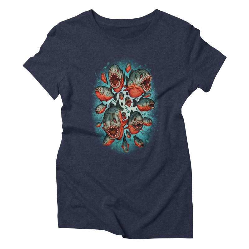 Frenzy Piranhas Women's Triblend T-Shirt by villainmazk's Artist Shop