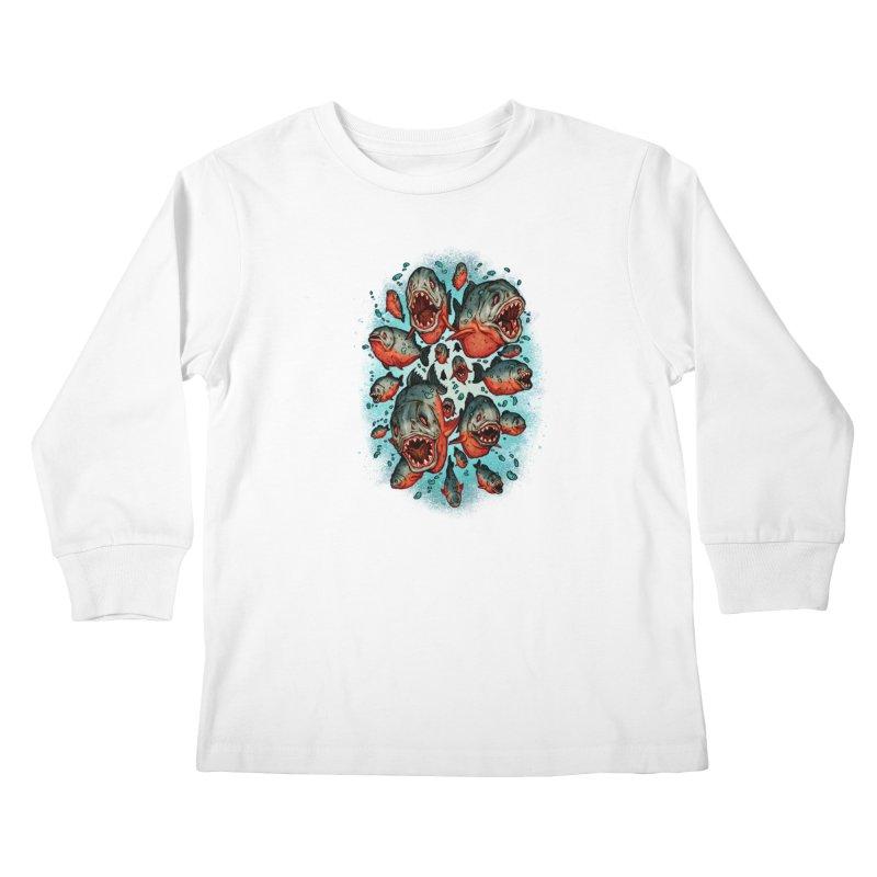 Frenzy Piranhas Kids Longsleeve T-Shirt by villainmazk's Artist Shop