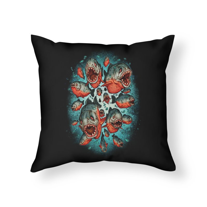 Frenzy Piranhas Home Throw Pillow by villainmazk's Artist Shop