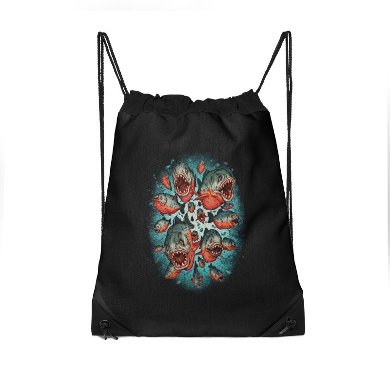 Frenzy Piranhas Accessories Drawstring Bag Bag by villainmazk's Artist Shop