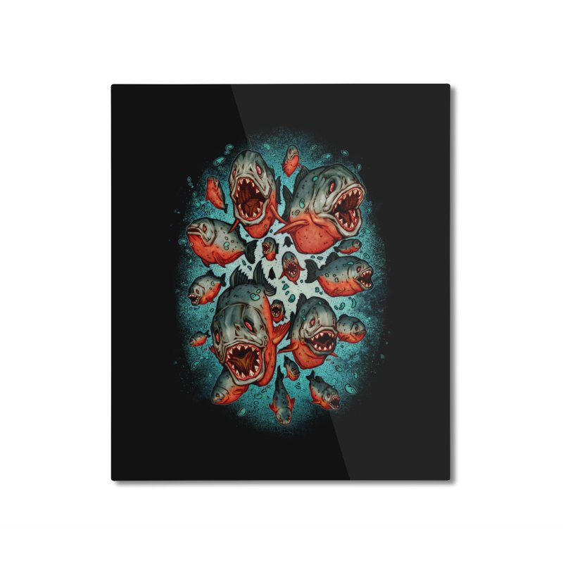 Frenzy Piranhas Home Mounted Aluminum Print by villainmazk's Artist Shop