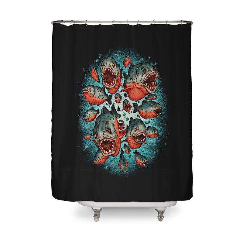 Frenzy Piranhas Home Shower Curtain by villainmazk's Artist Shop