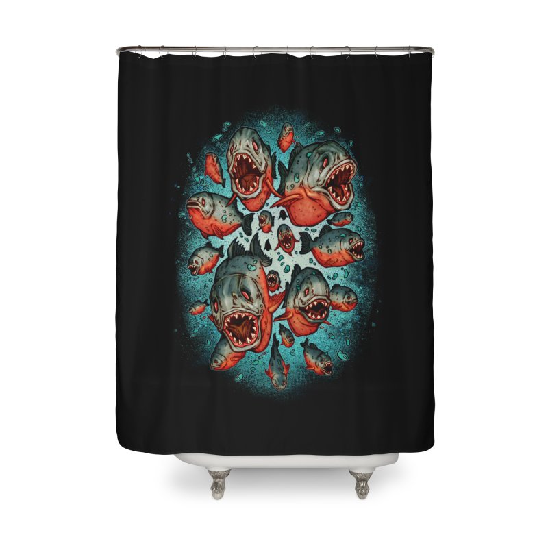 Frenzy Piranhas Home Shower Curtain by villainmazk's Artist Shop