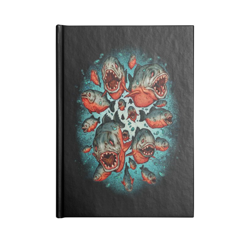 Frenzy Piranhas Accessories Blank Journal Notebook by villainmazk's Artist Shop