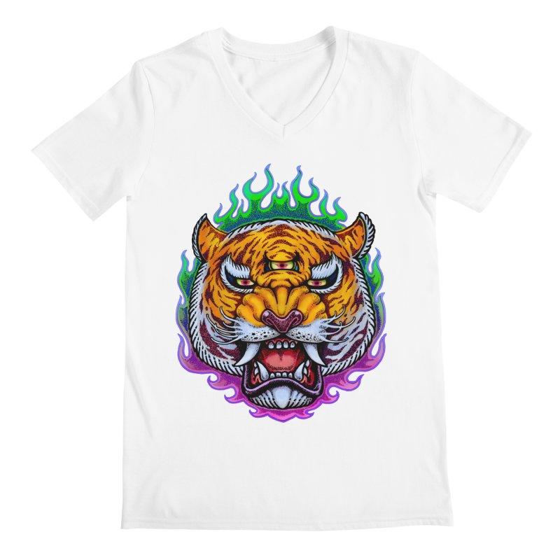 Third Eye Tiger Men's V-Neck by villainmazk's Artist Shop