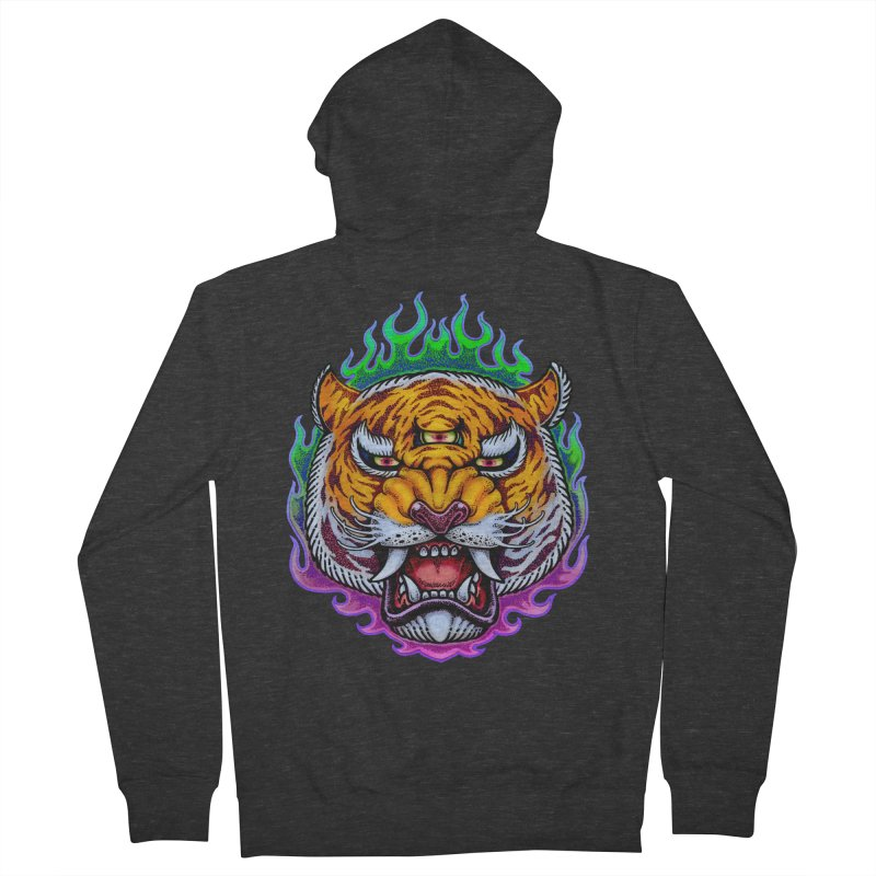 Third Eye Tiger Women's French Terry Zip-Up Hoody by villainmazk's Artist Shop
