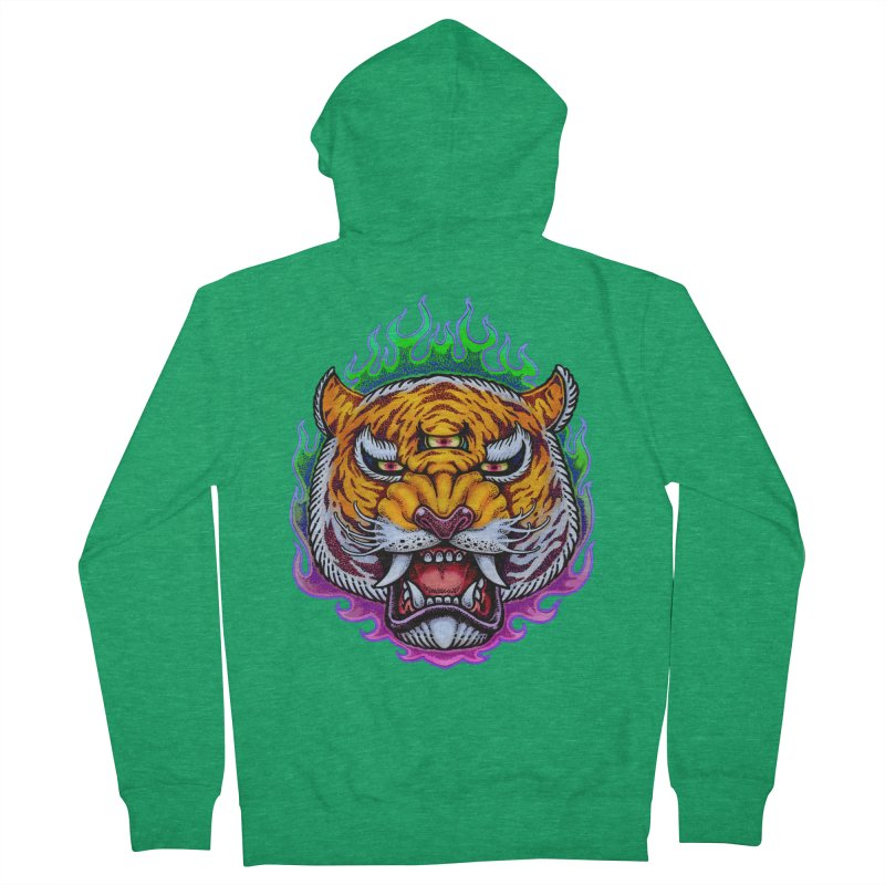 Third Eye Tiger Men's French Terry Zip-Up Hoody by villainmazk's Artist Shop