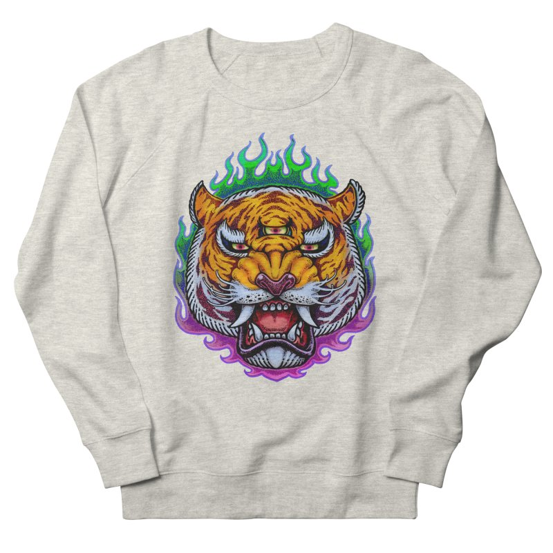 Third Eye Tiger Men's French Terry Sweatshirt by villainmazk's Artist Shop