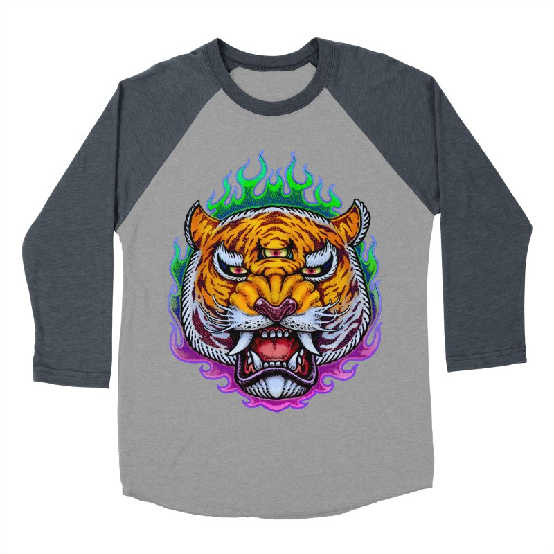 Third Eye Tiger Women's Baseball Triblend Longsleeve T-Shirt by villainmazk's Artist Shop