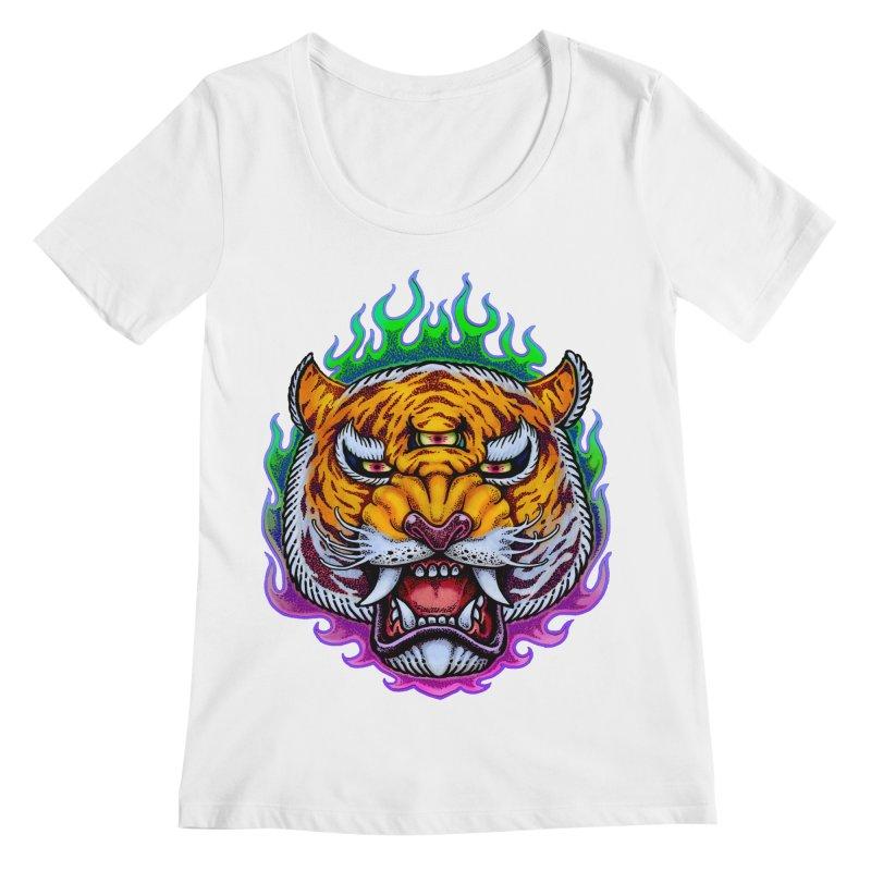 Third Eye Tiger Women's Regular Scoop Neck by villainmazk's Artist Shop