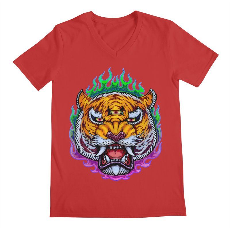 Third Eye Tiger Men's Regular V-Neck by villainmazk's Artist Shop