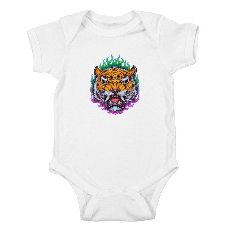 Third Eye Tiger Kids Baby Bodysuit by villainmazk's Artist Shop