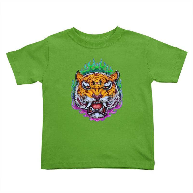 Third Eye Tiger Kids Toddler T-Shirt by villainmazk's Artist Shop