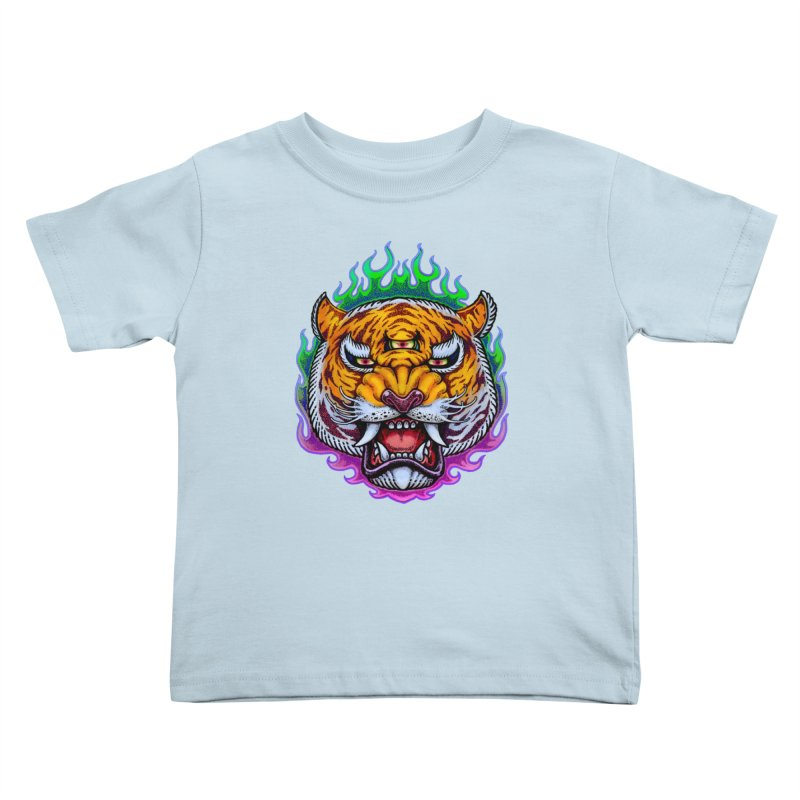 Third Eye Tiger Kids Toddler T-Shirt by villainmazk's Artist Shop