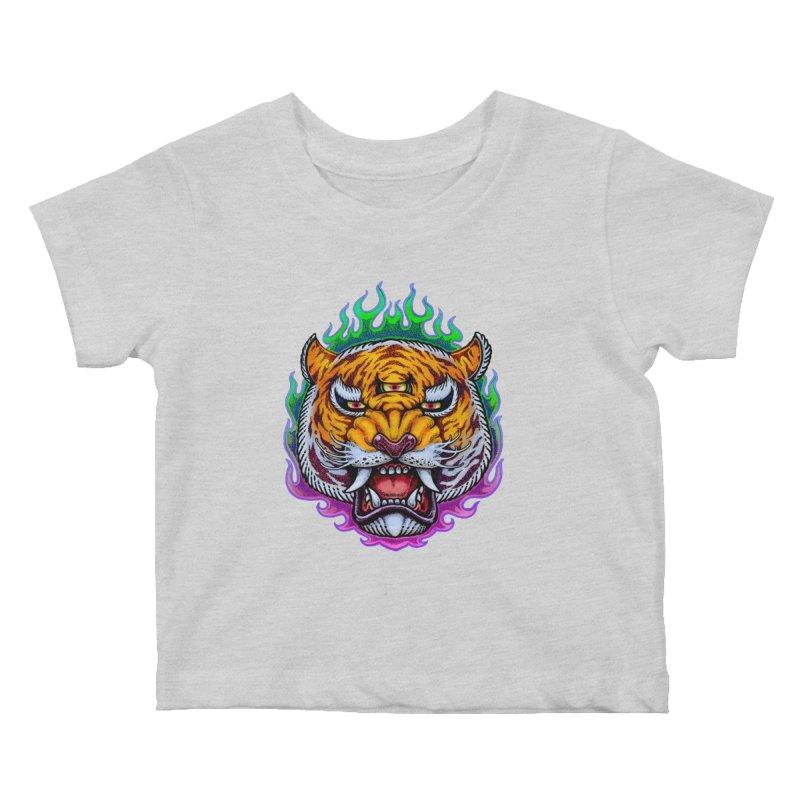 Third Eye Tiger Kids Baby T-Shirt by villainmazk's Artist Shop