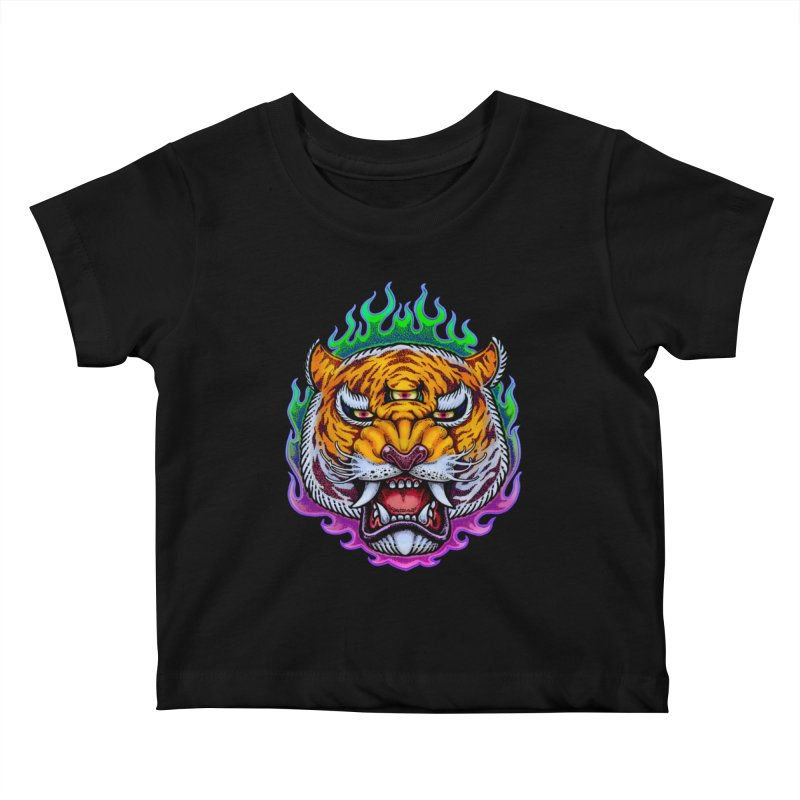 Third Eye Tiger Kids Baby T-Shirt by villainmazk's Artist Shop