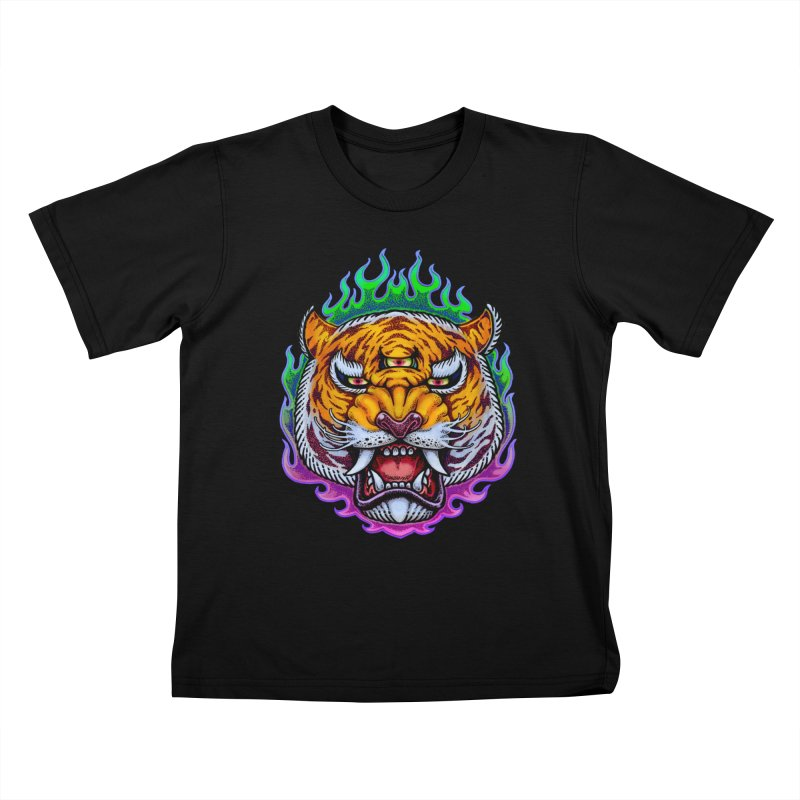 Third Eye Tiger Kids T-Shirt by villainmazk's Artist Shop