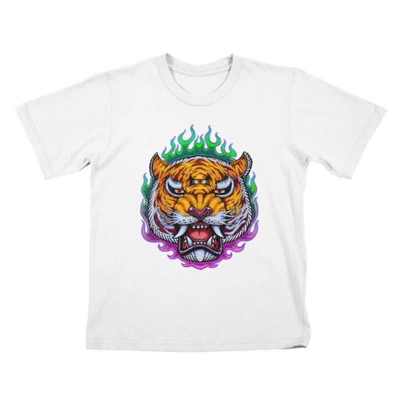 Third Eye Tiger Kids T-Shirt by villainmazk's Artist Shop