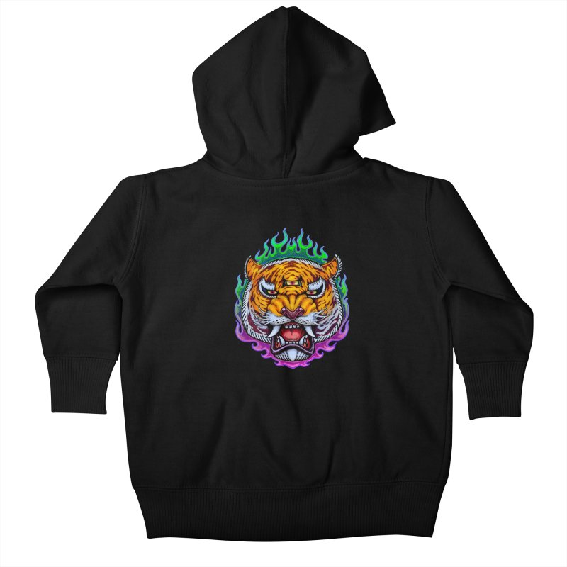Third Eye Tiger Kids Baby Zip-Up Hoody by villainmazk's Artist Shop
