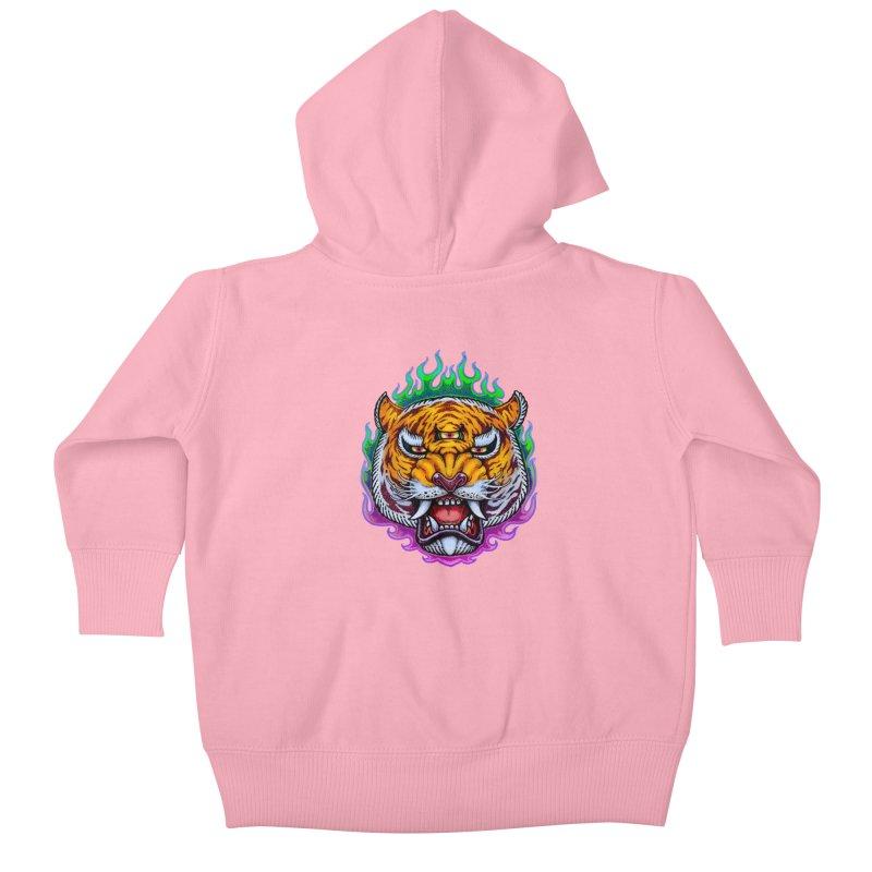 Third Eye Tiger Kids Baby Zip-Up Hoody by villainmazk's Artist Shop