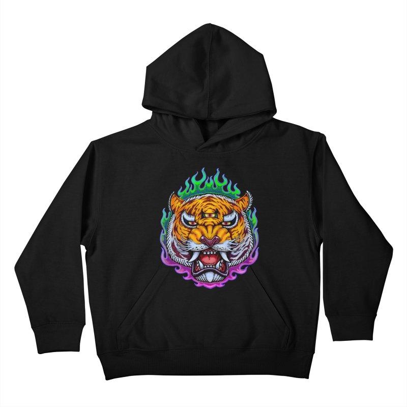 Third Eye Tiger Kids Pullover Hoody by villainmazk's Artist Shop