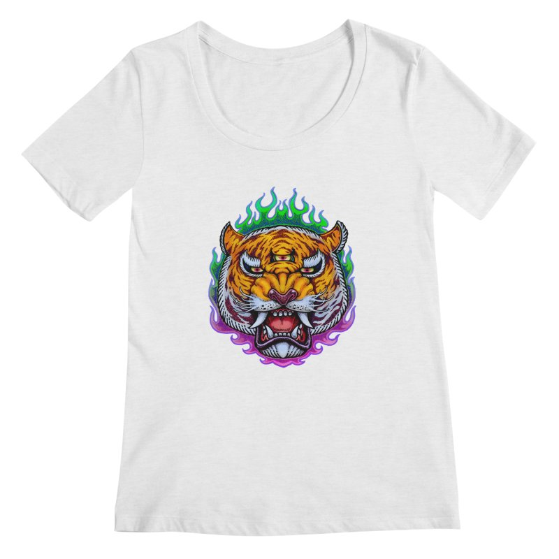 Third Eye Tiger Women's Regular Scoop Neck by villainmazk's Artist Shop