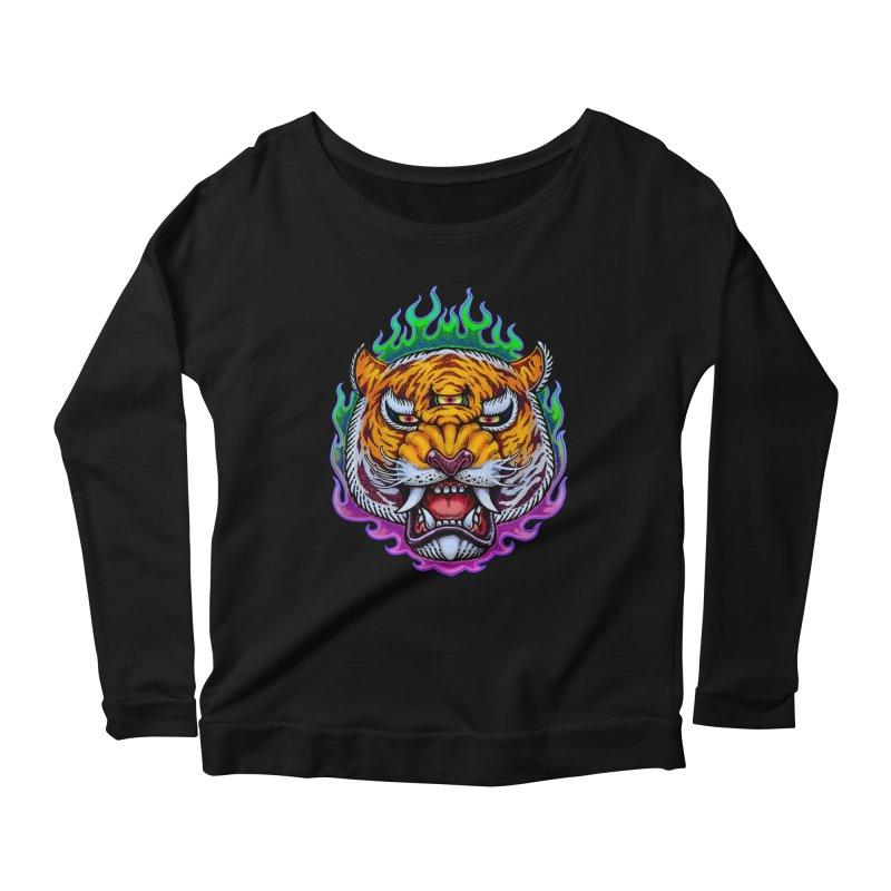 Third Eye Tiger Women's Scoop Neck Longsleeve T-Shirt by villainmazk's Artist Shop