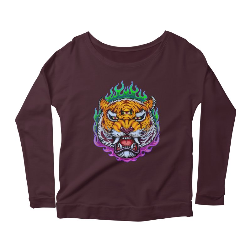 Third Eye Tiger Women's Scoop Neck Longsleeve T-Shirt by villainmazk's Artist Shop