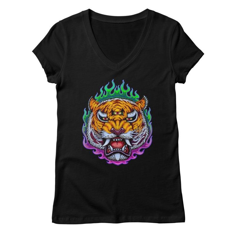 Third Eye Tiger Women's V-Neck by villainmazk's Artist Shop